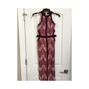 Missguided Velvet Binding Lace Midi Dress Burgundy